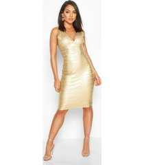 boutique strakke wet look midi jurk met laag decolleté, goud