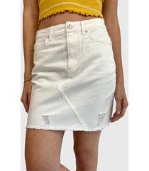 falda jacqueline de yong blanco - calce regular