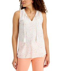 style & co petite printed tie-neck top, created for macy's
