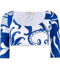 la doublej portofino cropped swim top - blue