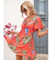 tropical hoja estampado de amarre diseño cuello en v manga corta mini vestido