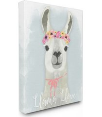 "stupell industries llama love pink flower tiara canvas wall art, 16"" x 20"""