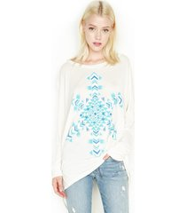 kayla lrg snowflake l/s oversized cape top - xs/s faded white