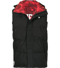aape by *a bathing ape® embroidered logo padded gilet - black