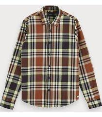 scotch & soda geruit flanellen overhemd | regular fit