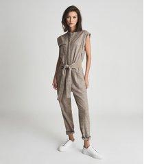 reiss mati - textured wool blend jumpsuit in neutral, womens, size 12