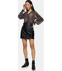tall black high waist pu mini skirt - black