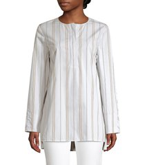 lafayette 148 new york women's tilly striped cotton tunic - aerial blue - size s