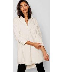 oversized corduroy blouse met onbewerkte zoom, wit