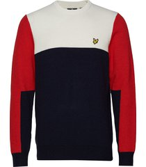 colourblock crew sweat-shirt trui multi/patroon lyle & scott