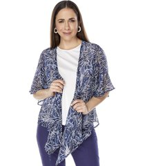 blusa abierta doble navy flores mujer corona