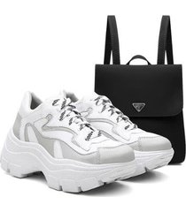 kit mochila + tênis sneaker feminino vicerinne chunky macio - feminino