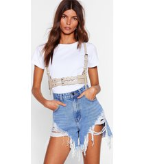 womens don't let it go to waist harness belt - nude