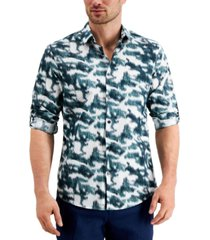 alfani men's classic-fit ikat-print utility shirt, created for macy's