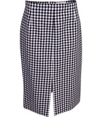 gingham cotton slit pencil skirt