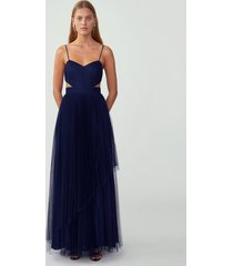navy pleated cut out gown