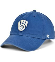 '47 brand milwaukee brewers timber blue clean up cap