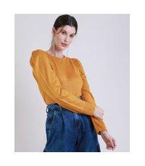 blusa de tricô feminina mindset manga bufante decote redondo mostarda