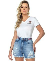 t-shirt daniela cristina gola v 09 602dc10315 branco pp - feminino