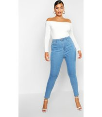 plus skinny jeans met hoge taille, lichtblauw