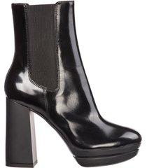 stivaletti stivali donna con tacco in pelle h391