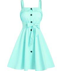 mock button bow tie mini cami dress