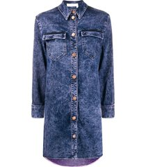 see by chloé distressed finish denim dress - blue