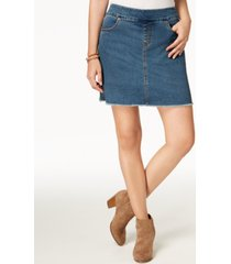 style & co petite pull-on frayed-hem skort, created for macy's