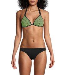 love moschino women's fantasia triangle bikini top - pink - size 3 (l)