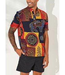 incerun collar de soporte con estampado gráfico para hombres camisa