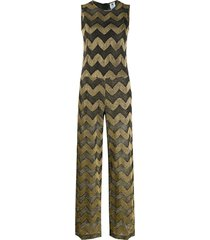 m missoni chevron-print long jumpsuit - gold