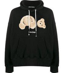 palm angels teddy bear patch hoodie - black
