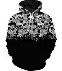 digital floral skull print front pocket drawstring hoodie