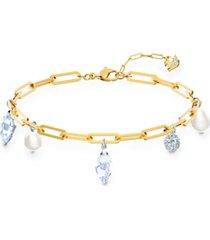 swarovski gold-tone crystal & imitation pearl charm link bracelet