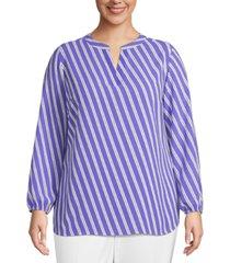 anne klein plus size striped blouson-sleeve top