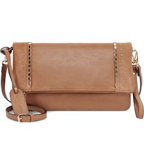 sole society studded foldover faux leather crossbody bag - brown