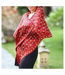 silk batik shawl, 'java crimson court' (indonesia)