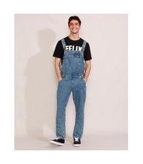 macacão jeans masculino marmorizado com bolsos azul médio