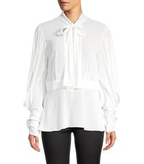 dolce & gabbana women's pussycat bow poet blouse - white - size 46 (12)
