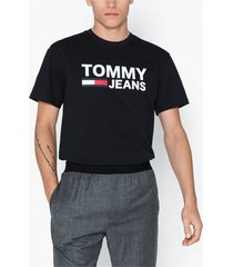 tommy jeans tjm tommy classics logo tee t-shirts & linnen black