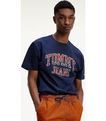 polera en punto algodón orgánico logo azul tommy jeans