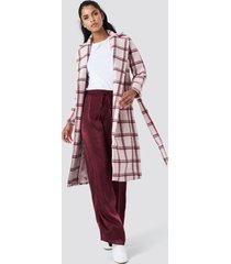 na-kd classic checked long coat - pink
