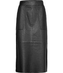francie midi leather skirt knälång kjol svart second female