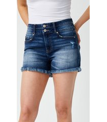 maurices womens kancan™ high rise fray hem 3.5in shorts blue