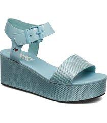 denia 2c sandalette med klack espadrilles blå tommy hilfiger