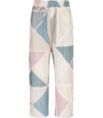 by walid marek patchwork trousers - blue