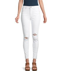 joe's jeans women's high-rise ripped skinny ankle jeans - white - size 27 (4)