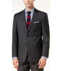 tommy hilfiger men's modern-fit th flex performance plaid wool suit jacket