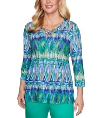 alfred dunner costa rica geometric biadere printed top