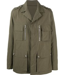 balmain multi-pocket military jacket - green
